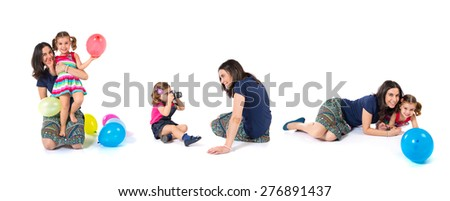 Set images of  kid photographing at her mother and playing with balloons - stock photo