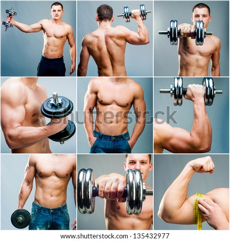 Set images of muscular man with dumbbells on a gray background - stock photo