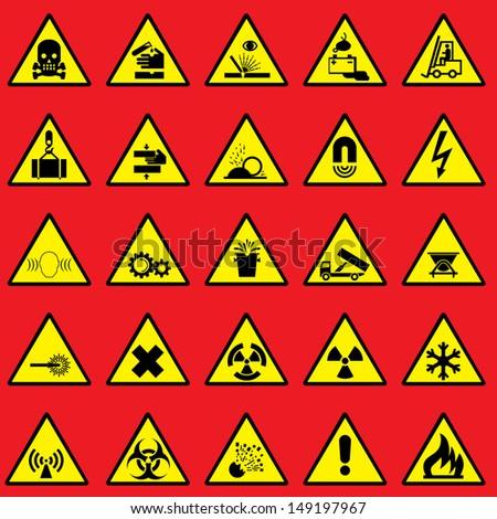 set images of warning sign and danger symbols - stock photo