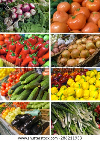 set images vegetables in the supermarket - stock photo