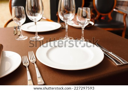 set in restaurant - stock photo