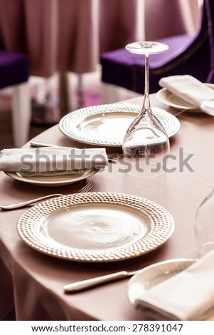 set in the restaurant - stock photo