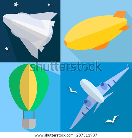 Set into flat style airplane, airship, balloon, space shuttle of vehicles.  illustration - stock photo