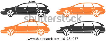 set isolated modern car and taxi cab silhouette  - stock photo