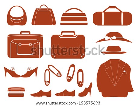 set isolated objects - clothes, bags and shoes  - stock photo