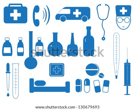 set isolated objects of medicine equipment in blue background - stock photo