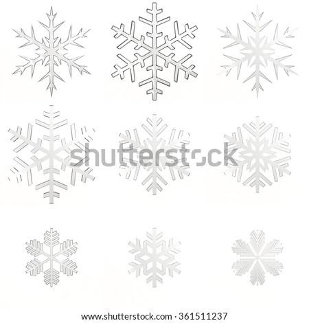 Set isolated white transparent snowflakes on white background - stock photo