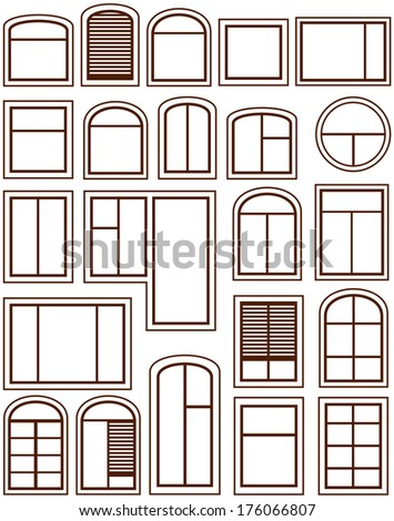 set isolated windows silhouette on white background - stock photo