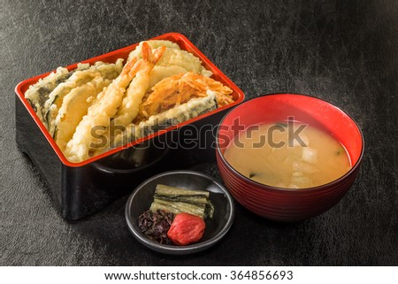 Set Japanese foods of tempura and the rice - stock photo