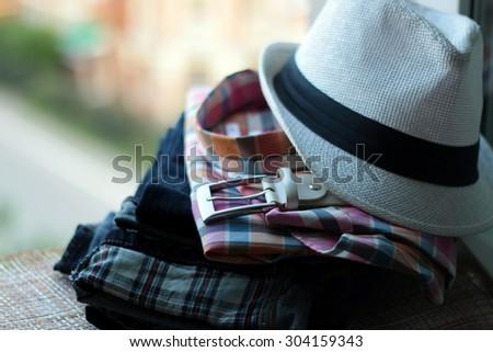 Set jeans belt shirt - stock photo