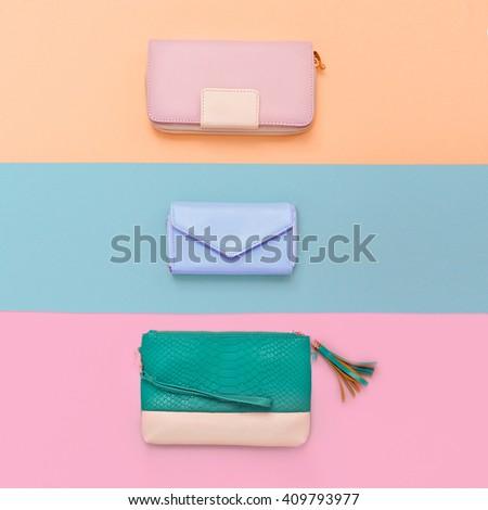 Set Lady Clutch. Pastel Color Trend - stock photo