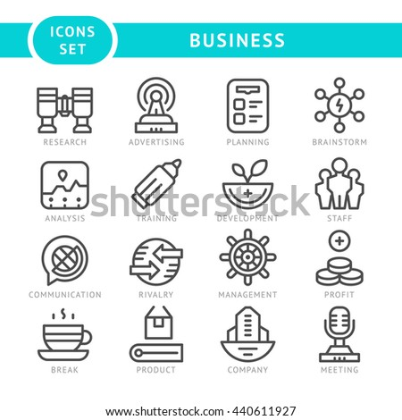 Set line icons of business isolated on white - stock photo