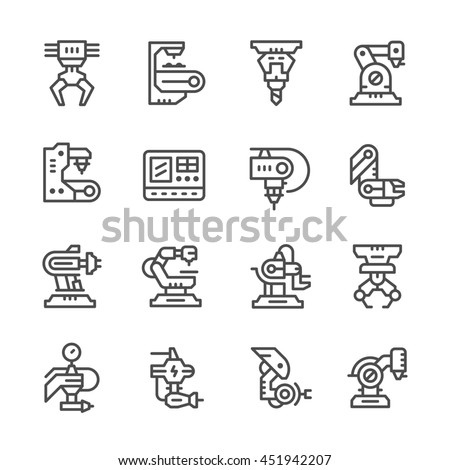 Set line icons of robotic industry isolated on white - stock photo