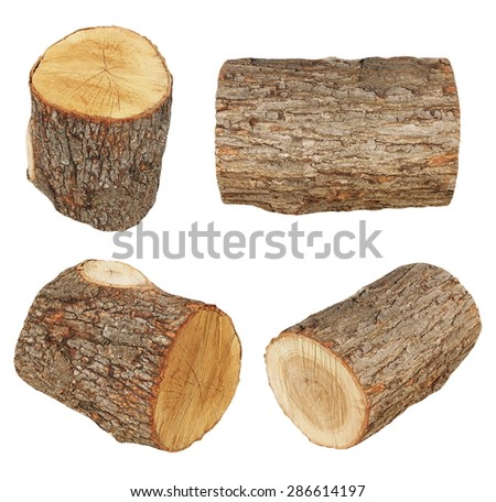 set log fire wood isolated on white background with clipping path (high resolution) - stock photo