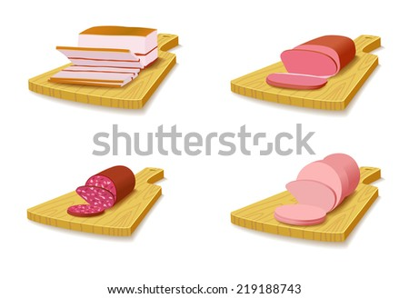Set meat products on the cutting board are on white background (raster version).  - stock photo