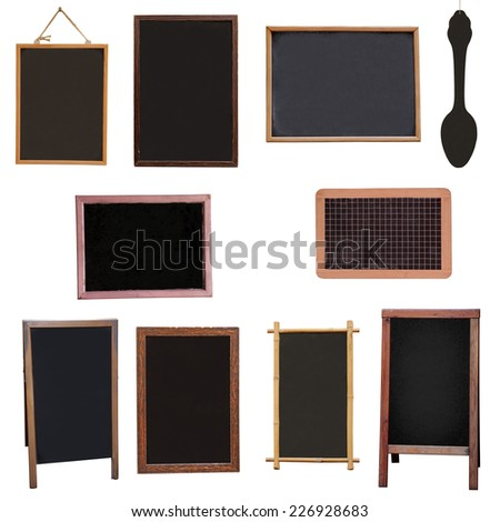 Set menu board for restaurant from ten writing board, isolated - stock photo