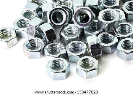 Set metal nut isolated on white background - stock photo