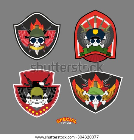 Set military and armed labels logo.  Skull, Eagle and weapons.  - stock photo