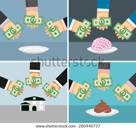 Set money and hands. Selling and buying a House, brains, shit.  business concepts in flat style for infographics.  - stock photo
