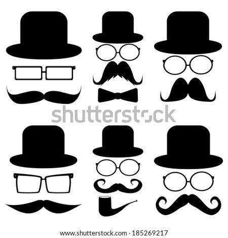 Set mustache, hats, glasses, - stock photo
