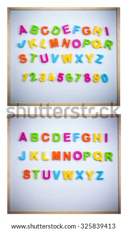Set of a English alphabet made of plastic letters and numbers on a magnetic board - stock photo