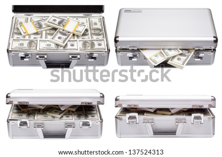 Set of a metal case with dollars and euros isolated on a white background - stock photo