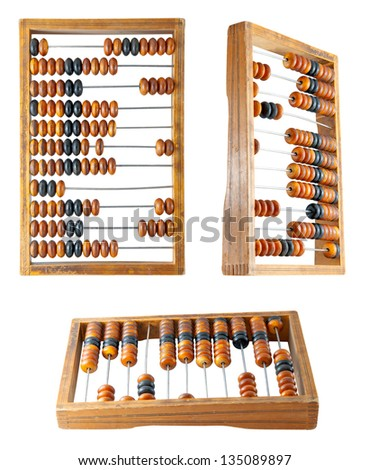 Set of a old abacus isolated on a white background - stock photo