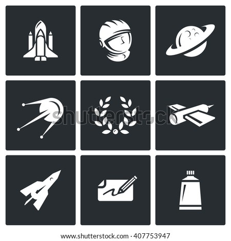 Set of A Space Flight Icons. Spaceport, Outfit, Planet, Research, Glory, Technology, Flying, Autograph, Food. Space Shuttle, Astronaut, Saturn, Satellite, Laurel, Rocket, Payment, Tube - stock photo