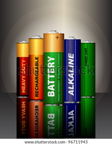 Set of AA batteries. (raster copy) - stock photo