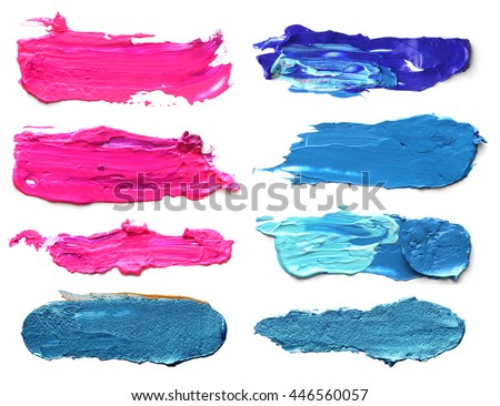Set of abstract acrylic brush strokes. - stock photo