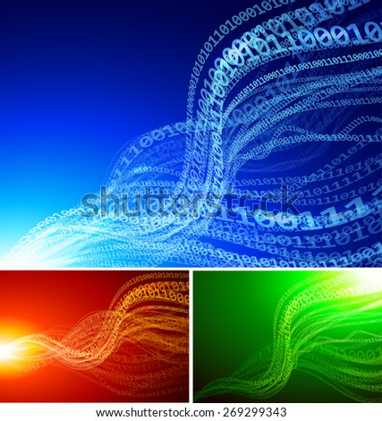 Set of abstract backgrounds with binary waves - stock photo
