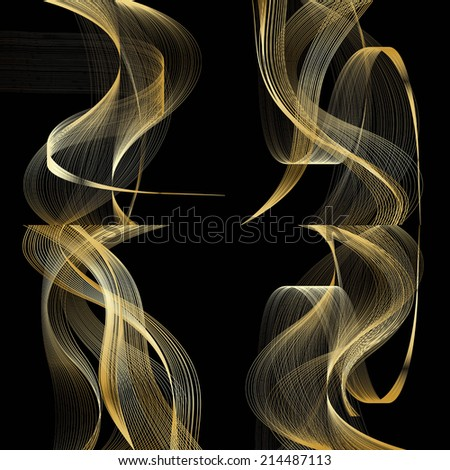set of abstract beige line golden wave yellow band on black background raster - stock photo