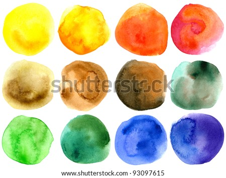 Set of abstract hand drawn watercolor circles - stock photo