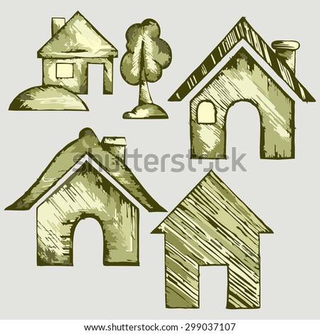 Set of abstract house. Raster version - stock photo