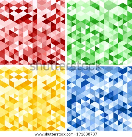 Set of Abstract Red, Green, Yellow and Blue Triangle Backgrounds, Raster Version - stock photo