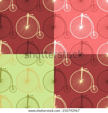 Set of abstract seamless patterns with vintage bicycle and texture. Raster version of vector file. - stock photo