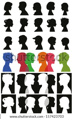Set of adult and children silhouettes.  - stock photo