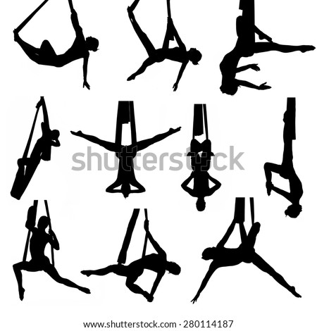 Set of aerial silk silhouettes, 10 different poses, isolated - stock photo