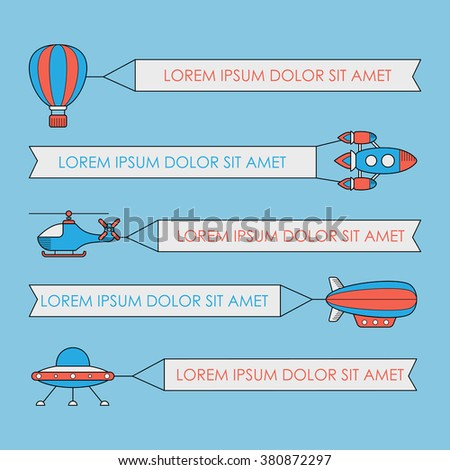 Set of air vehicles with banners. UFO rocket helicopter aerostat balloon airship with a banner - stock photo