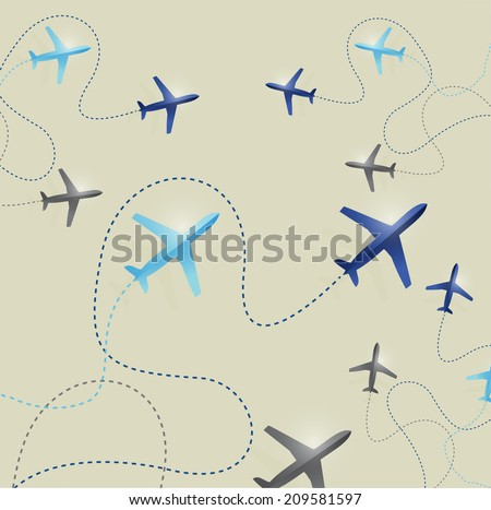set of airplane routes illustration design background - stock photo