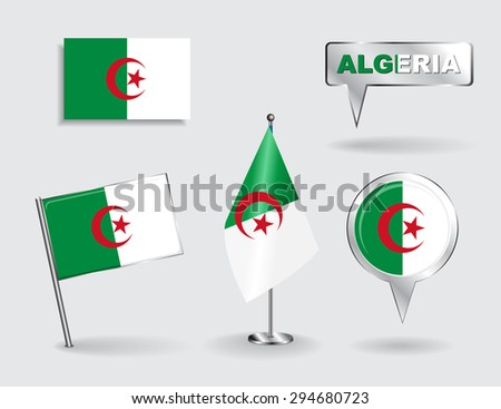 Set of Algerian pin, icon and map pointer flags. Raster version - stock photo