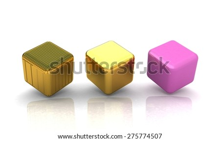 set of all metal cubes of gold, black gold, pink plastic - stock photo