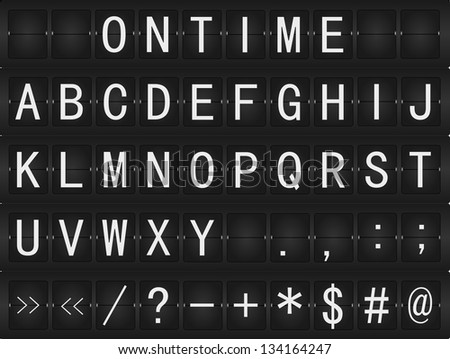 Set of alphabet, numbers and letters on airport style rotating mechanical timetable display. Raster Version. - stock photo