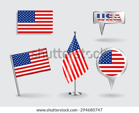 Set of American pin, icon and map pointer flags. Raster version - stock photo