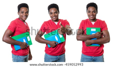 Set of an african american male student  - stock photo