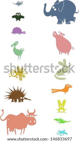 Set of animal silhouettes  - stock photo