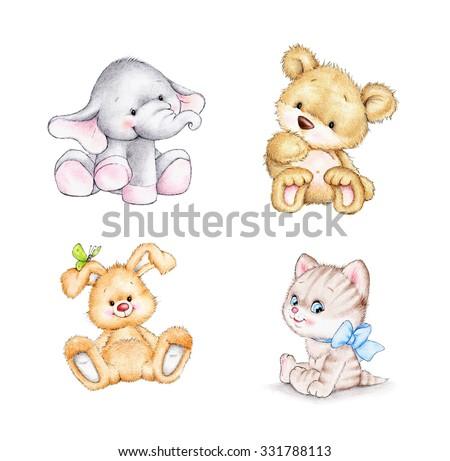 Set of 4 animals: elephant, bunny, bear, cat - stock photo