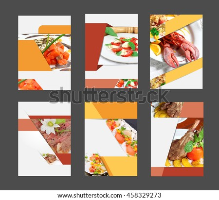 Set of annual report brochure flyer design template with food background, layout in A4 size - stock photo