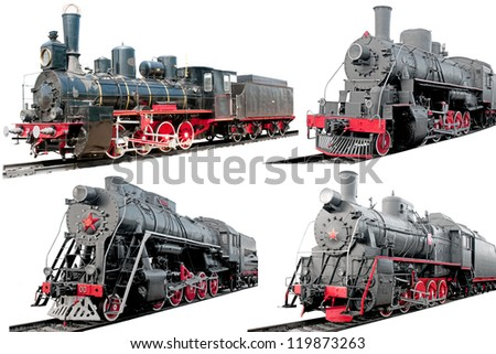 Set of antique steam locomotives on white background - stock photo