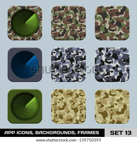 Set Of App Icon Backgrounds, Frames, Templates. Set 14. War Game, Military Style. Raster Version - stock photo